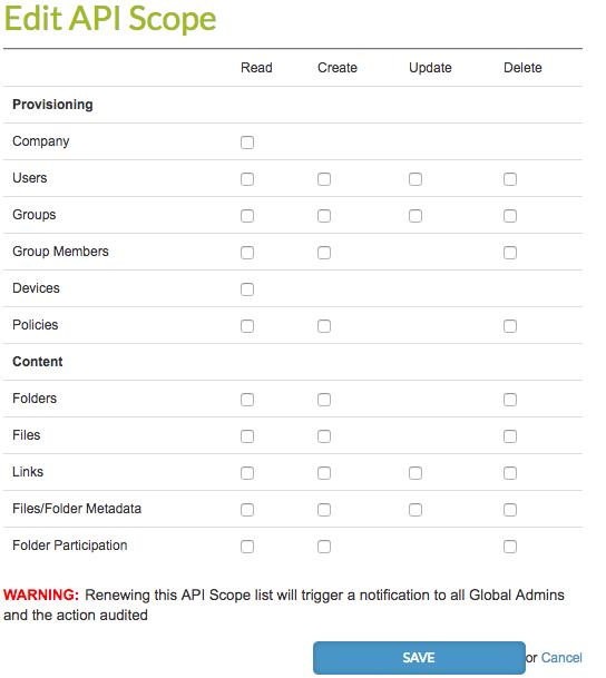 api user and scope